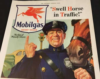 1941 Mobilgas Ad - Swell Horse in Traffic!, Original 11x14 Color Ad Print