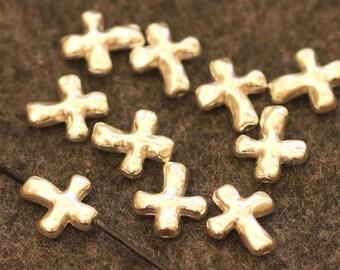 12 cross beads 14 mm silver
