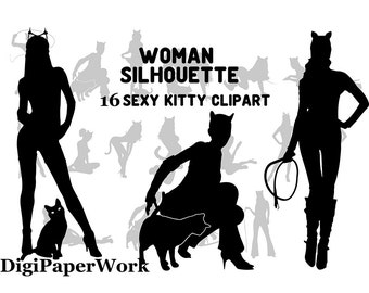 Woman Silhouettes Clip Art Digital Lady Silhouettes sexy Girl sexy kitty Silhouettes Clipart sexy Lady