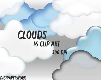 Cloud Clip Art Clouds clipart Printable Digital 16 clouds scrapbooking  Elements Personal and Commercial Use