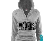 Not All Wounds Are Visible V Hoodie. PTSD Awareness Teal Ribbon Veterans. Marine Corps Army Navy Air Force Coast Guard. Deployment Combat
