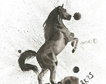 Original ink and brush Horse