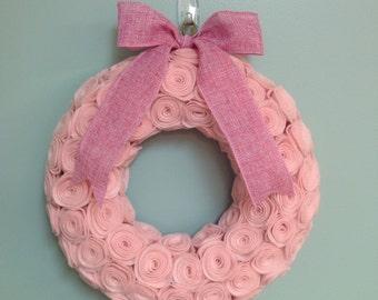 PInk Rose Felt Wreath