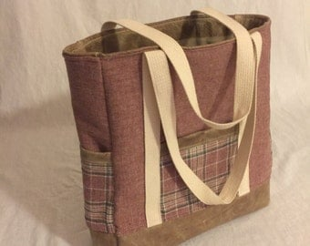 Vintage Wool and leather tote