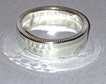 Texas State Quarter Silver Proof Coin Ring