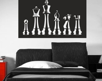 Chess Wall Decal, Chess Decal Wall Sticker Sport wall Sticker wall decor Chess Wall decal removable vinyl Sport Decal 055