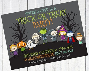 halloween invitation party trick or treating - Trick or Treat Halloween Party Invitation