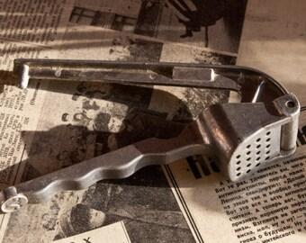 Vintage Soviet 1930's Aluminum Garlic Press