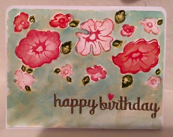 Water colored Birthday card.
