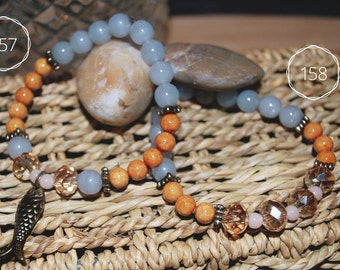 Balls of glass and fossil stone bracelet