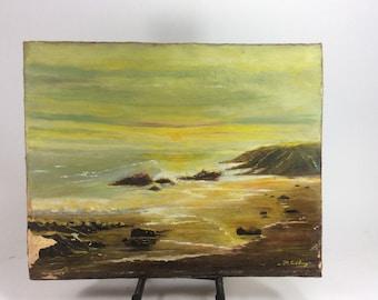 Vintage skyline oil painting 20in. x 16in.