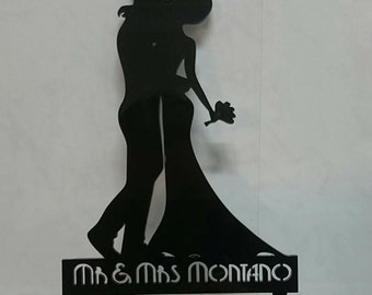 Mr & Mrs personalised silhouette cake topper coloured art deco style couple acrylic wedding