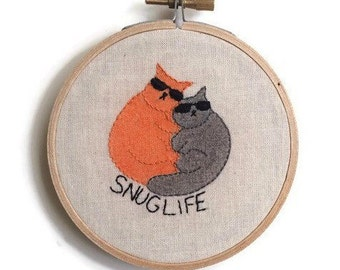 Snug life embroidery, cat embroidery, embroidered hoop art, embroidery wall art