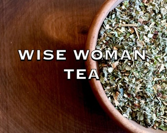 Wise Woman Tea, menopause relief • organic herbal tea remedy • hot flashes, night sweats, mood swings, insomnia • 8oz tin