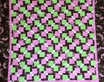 Brown and green and pink baby or infant quilt