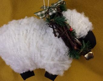 Folk Art Primitive Christmas Sheep Ornament