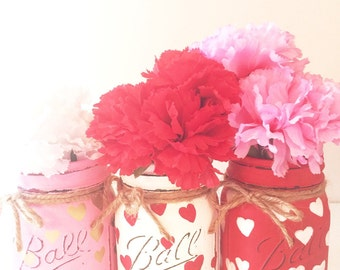 Set of 3 Hand Painted and Distressed Mason Jars, Dairy Bottles, Mothers Day, Teachers Gifts, Centerpieces, Wedding, Home Decor, Hearts!
