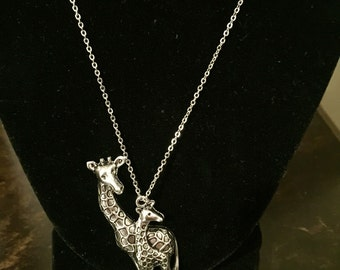 Giraffe pendant necklace, mama giraffe and baby giraffe