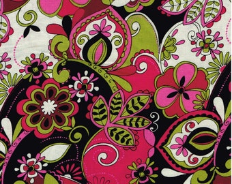 Half Yard, MC239, 100% Cotton, Black, Pinks, Greens, White Paisley, Great For Quilts, Crafting, Aprons, Home Decor