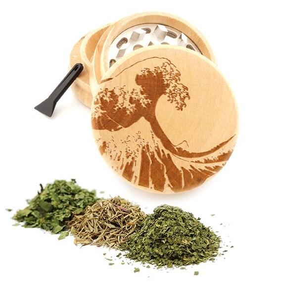 Wave Engraved Premium Natural Wooden Grinder Item # PW050916-134