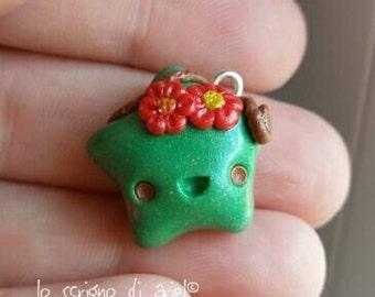 Happy earth spirit star : kawaii polymer clay charm