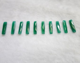 10 Pieces of Green Onyx Faceted Baguettes