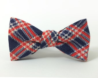 Patriotic Tartan Freestyle Bow Tie / Red White & Blue Plaid / adjustable 15 - 19 inches