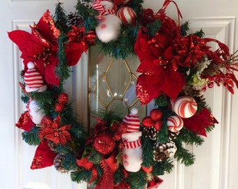 Red and White Snowman Wreath