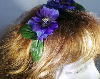 Purple pansy headband