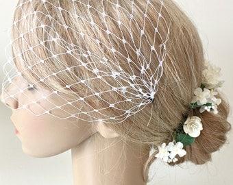 Birdcage Veil, Bandeau Veil, Bridal Bandeau, Wedding Birdcage Veil, White Veil, Bridal, Wedding Accessories, Small Veil, UK Shop