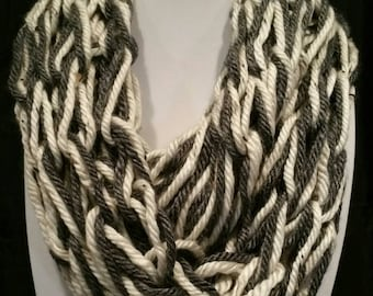 Charcoal Grey and Off-White Super Soft Double-infinity Scarf