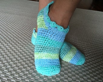 Handmade Women Cotton Socks, Multicolor Socks, Warm and Cozy, Women Slippers Crochet
