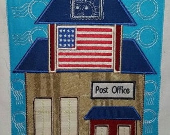 "Post Office ""My Town series"" embroidery applique Block 2, 3 sizes, 8 formats(dst,exp,jef,hus,pes,vip,vp3,xxx) instant download, 1 zip w/pdf"