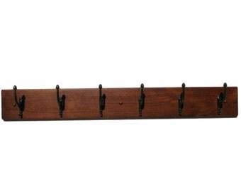 Coat Rack, Hat Rack, Wood Wall Mount in Solid Alder Wood with Mocha Finish by Udecorit