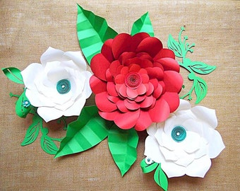 Large paper flowers paper flower kit tutorials flower diy giant flower templates diy large paper flower kit svg cutting files flower junglespirit Gallery