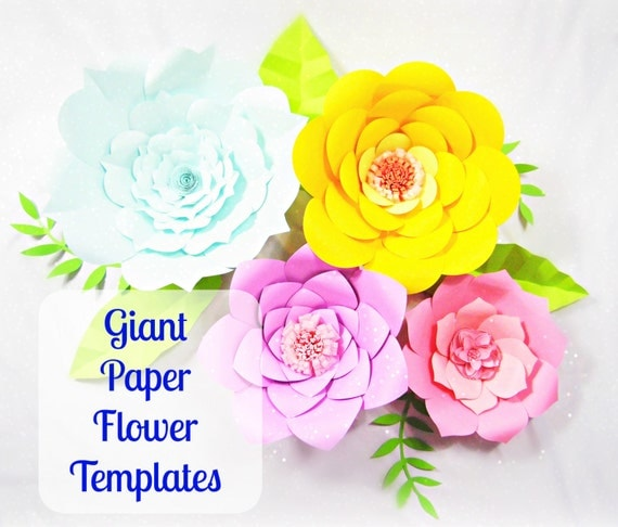 Wedding Paper Flower Templates: Giant Paper Flower Templates DIY Printable Flower Templates