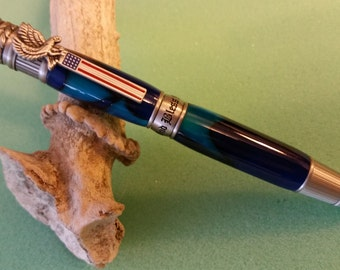 Hand-turned American Patriot Pen in Blue