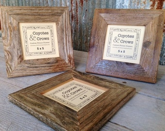 5x5 Picture Frame - Reclaimed Wood Frame - Texas Barnwood Square Picture Frame - 5x5 Frame - Square 5x5 Picture Frame - Rustic Made in Texas