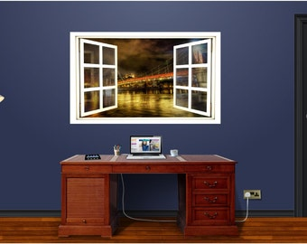 Window Scape Bridge #3 Wall Decal Graphic Sticker Water River Lake Skyline Mural Home Kids Game Room Office Art Decor