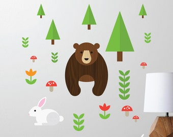 Forest Bear and Rabbit Wall Decal