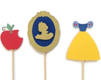 3 CT - Snow White Themed Center Pieces || Cake Topper || Gold, Blue & Red Glitter || Princess Party