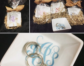 Set of 2 Monogrammed Ring Dishes