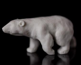 Marble Polar White Bear Figurine Animal Art Handmade Statuette For Home Decor, Miniature Stone White Bear Figurine
