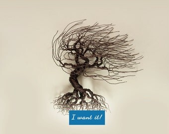Wind swept wire tree for walls