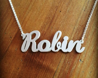 Large Name Necklace / x-large nameplate / hip hop jewelry / Graffiti jewelry / Huge nameplate necklace / Sterling silver name necklace