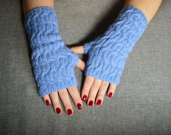 SALE 20% Off Hand knitted fingerless gloves (light blue, wool, acrylic)