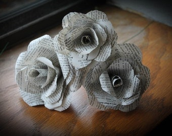 Paper Vintage Book Page Roses