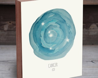 Cancer Zodiac - Cancer Constellation - Horoscope Art - Constellation Print - Wood Art Print