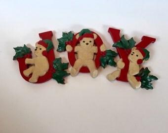 Vintage Homco Christmas Wall Decor Joy Bears