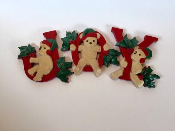 Items similar to vintage homco christmas wall decor joy